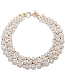 "Gold-Tone Imitation Pearl 15"" Multi-Row Collar Necklace"