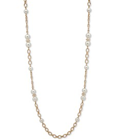 "Two-Tone Imitation Pearl 42"" Station Necklace"