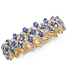 Gold-Tone Crystal & Stone Flower Stretch Bracelet, Created For Macy's