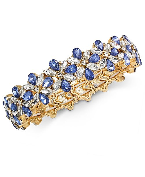Charter Club Gold-Tone Crystal & Stone Flower Stretch Bracelet, Created for Macy's