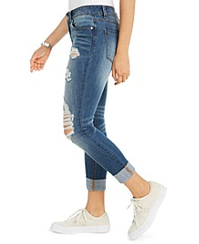 Juniors' Ripped Roll-Cuff Skinny Jeans