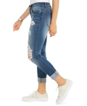 Juniors' Ripped Roll-Cuff Skinny Jeans