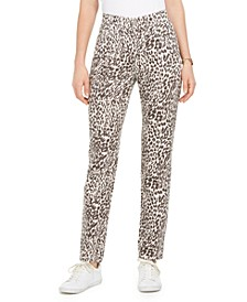 Petite Animal-Print Tummy-Control Slim Jeans, Created for Macy's