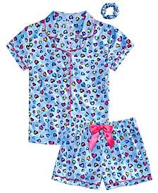 Big Girls Heart-Print Coat Pajamas & Scrunchie