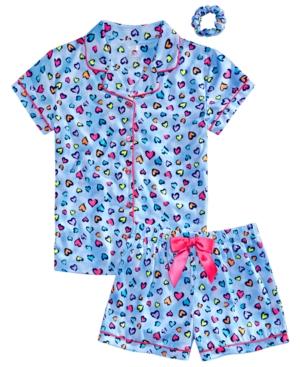 Max & Olivia Big Girls Heart-Print Coat Pajamas & Scrunchie