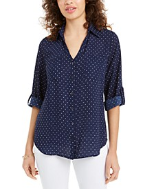 Juniors' Cuffed Dot-Print Top