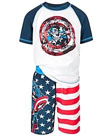 Little Boys 2-Pc. Captain America Rash Guard & Swim Trunks Set