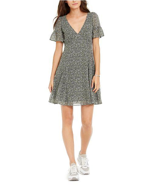 Michael Kors Printed Flutter-Sleeve A-Line Dress