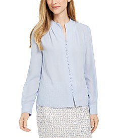 Long-Sleeve Button-Up Blouse