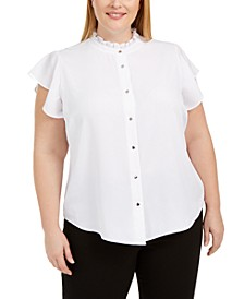 Plus Size Ruffled-Neck Button-Up Blouse