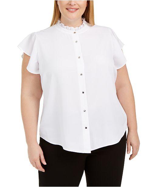 Calvin Klein Plus Size Ruffled-Neck Button-Up Blouse