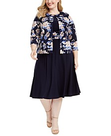 Plus Size Floral Jacket & Dress