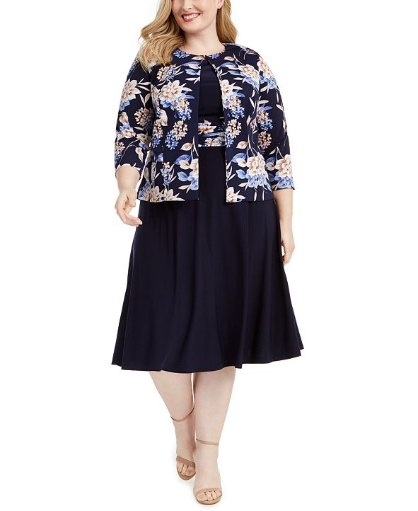 Jessica Howard Plus Size Floral Jacket & Dress