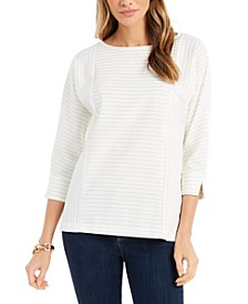 Petite Textured Boat-Neck Top, Created for Macy's