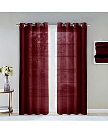 """Malibu Linen Look Sheer Grommet Window Panel, 110"""" x 84"""""""