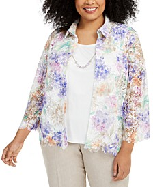 Plus Size Nantucket Printed Lace Layered-Look Necklace Top