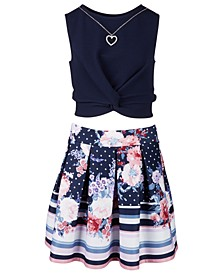 Big Girls 2-Pc. Twist-Knot Top & Printed Skater Skirt Set