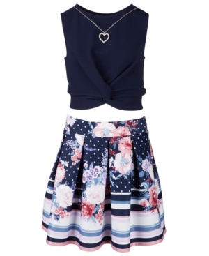 Beautees Big Girls 2-Pc. Twist-Knot Top & Printed Skater Skirt Set