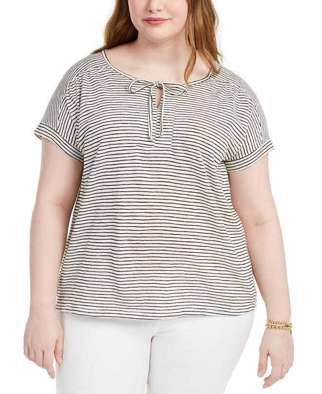 Style & Co Plus Size Keyhole-Neck T-Shirt, Created for Macy's