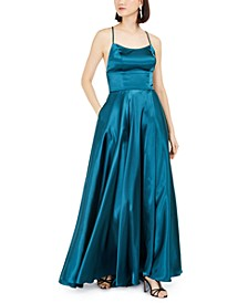 Empire-Waist Satin Gown