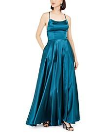Empire-Waist Satin Gown