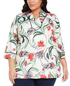 Charter Club Plus Size Floral Print Tunic, Created for Macy's