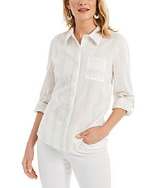 Multi-Stripe Button-Down Top, Created for Macy's