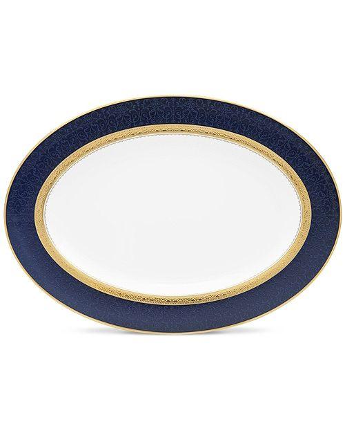 "Noritake Odessa Cobalt Gold Oval Platter, 14"""