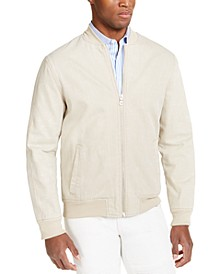 INC Men's Washed Denim Bomber Jacket, Created For Macy's