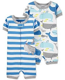 Baby Boys 2-Pk. Whale-Print Cotton Romper Pajamas