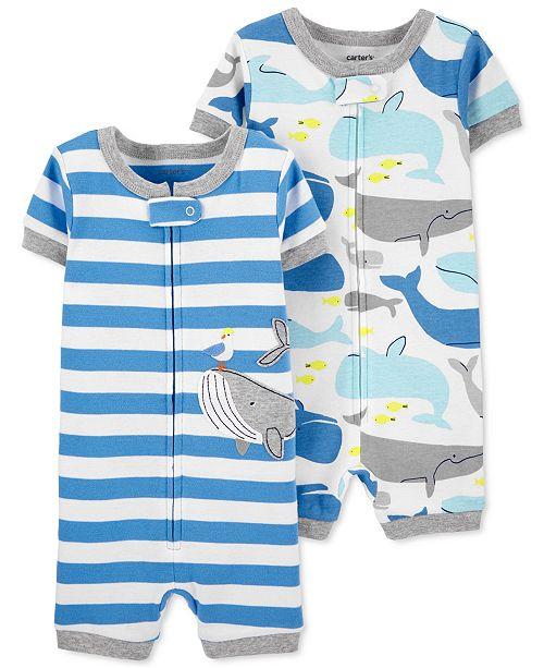 Carter's Baby Boys 2-Pk. Whale-Print Cotton Romper Pajamas