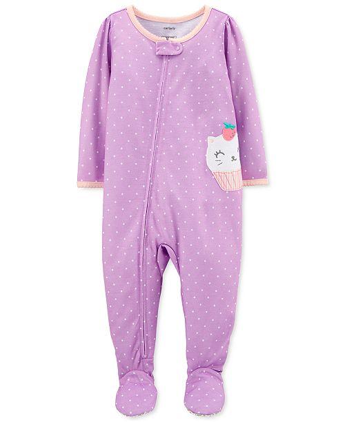 Carter's Baby Girls 1-Pc. Dot-Print Catcake Footed Pajamas