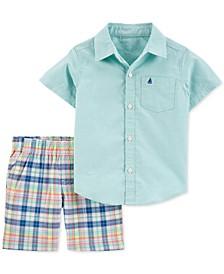 Toddler Boys 2-Pc. Cotton Oxford Shirt & Plaid Shorts Set