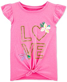Little & Big Girls Love-Print Tie-Front Cotton T-Shirt