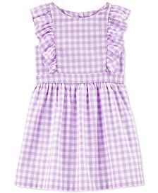 Toddler Girls Cotton Gingham Ruffle Dress