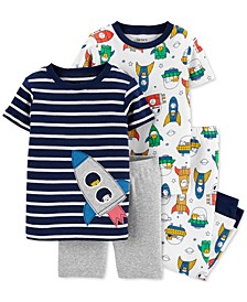 Toddler Boys 4-Pc. Rocket Ship Cotton Pajamas Set
