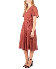 Petite Printed Flutter-Sleeve A-Line Dress
