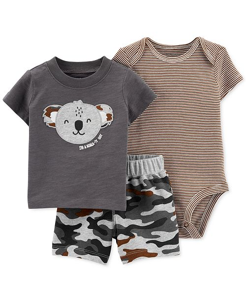 Carter's Baby Boys 3-Pc. Cotton Koala Camo T-Shirt, Bodysuit & Shorts Set