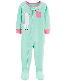 Baby Girls 1-Pc. Dot-Print Llama Cotton Footed Pajamas