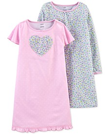 Little & Big Girls 2-Pk. Floral & Heart Nightgowns