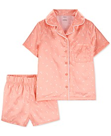 Little & Big Girls 2-Pc. Heart-Print Coat-Style Satin Pajamas Set