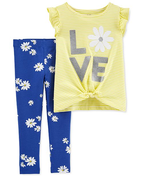 Carter's Baby Girls 2-Pc. Love Top & Daisy-Print Leggings Set