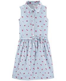 Little & Big Girls Floral Striped Cotton Shirtdress