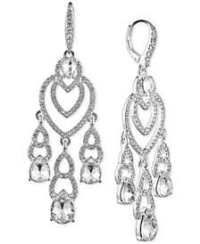 Silver-Tone Crystal Teardrop Earrings