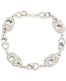 Silver-Tone Crystal Teardrop Flex Bracelet
