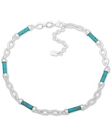 "Silver-Tone Turquoise-Look Barrel-Bead Collar Necklace, 16"" + 3"" extender"