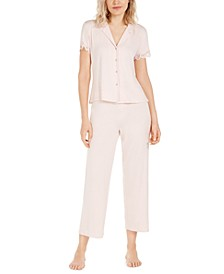 Lace-Trim Jersey Knit Pajama Set