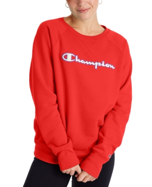Champion Women's Powerblend Logo Sweatshirt In Red Flame