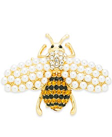Gold-Tone Pavé & Imitation Pearl Bee Pin, Created for Macy's