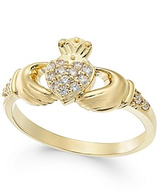 Gold-Tone Pavé Claddagh Ring, Created for Macy's